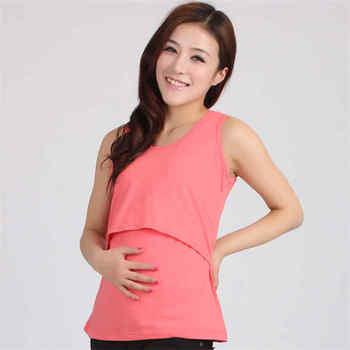 6be13da06af CHAMSGEND venta al por mayor CHAMSGEND ropa de maternidad embarazada Tops  de lactancia cuello redondo Camiseta sin mangas para madre