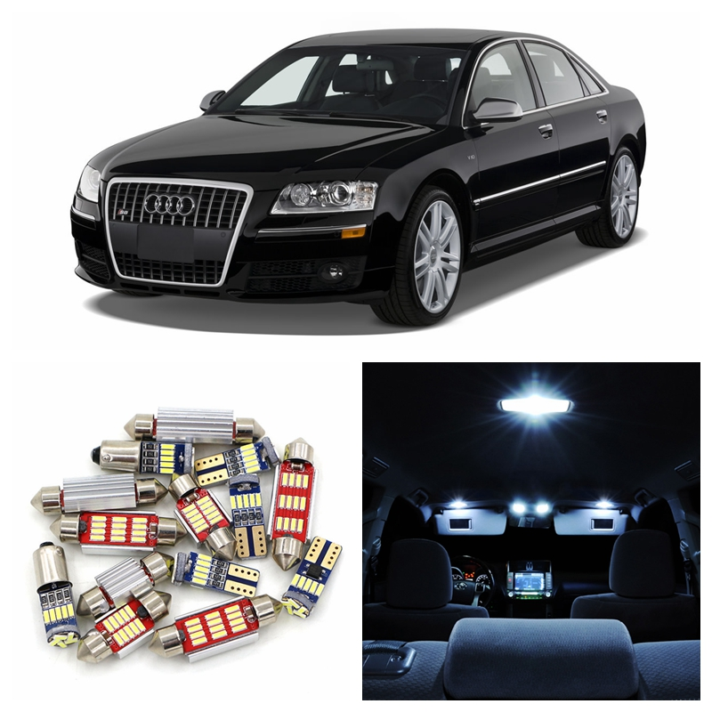 17pcs White Canbus Car Super Bright LED Light Bulbs Interior Package Kit For 2007-2009 Audi A8 S8 D3 Dome Trunk Door Lamp 2pcs 12v 31mm 36mm 39mm 41mm canbus led auto festoon light error free interior doom lamp car styling for volvo bmw audi benz