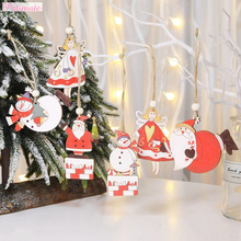 PATIMATE 2019 Christmas Decoration for Home Wooden Ornament Chrismas Santa Claus Tree Decorations 2020 New Year Supplies Navidad