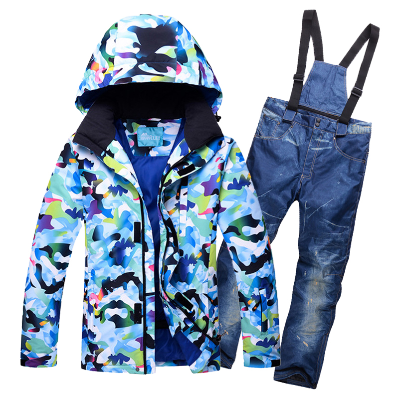 2017 Heavy Skiing Warm Thick Waterproof Snow Jackets And Bib Pants Men Ski Snowsuit Hooded Camo Printed Snowboard Suits For Male drawstring spliced camo jogger pants