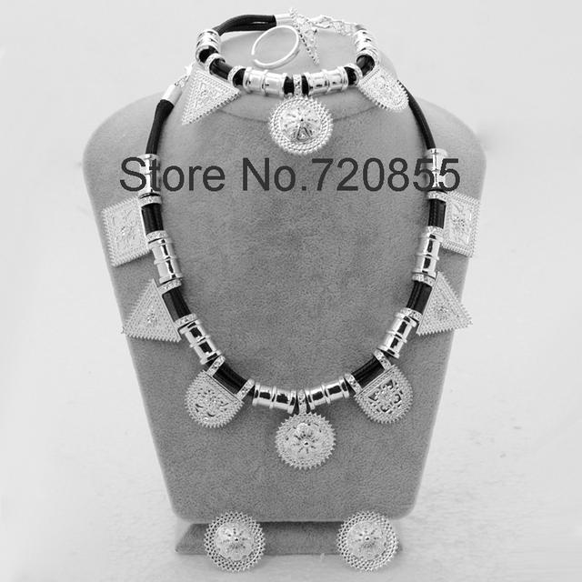 Bright silver plated etíope set anillo collar pendiente pulsera joyería habesha eritrea etiopía áfrica set novia de la boda