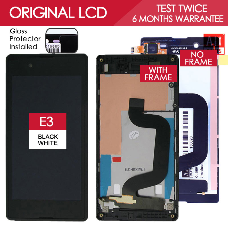 Tested Original 4 5 INCH Black White 854x480 Display For SONY Xperia E3 LCD Touch Screen