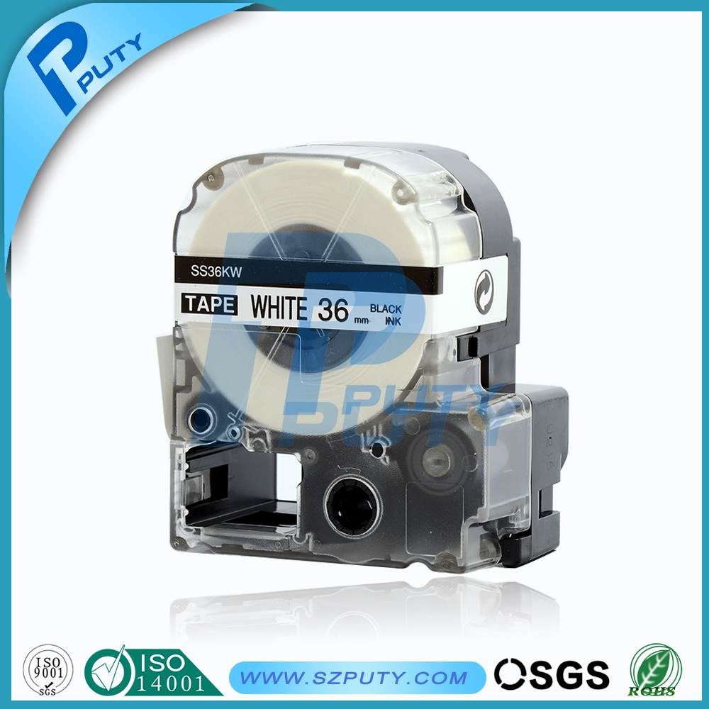 PUTY Compatible EPSON/KINGJIM label tape 36mm*8m Black on White LC-7WBN/SS36KW for labelworks/Tepra LW-400, LW-600P, LW-700, etc