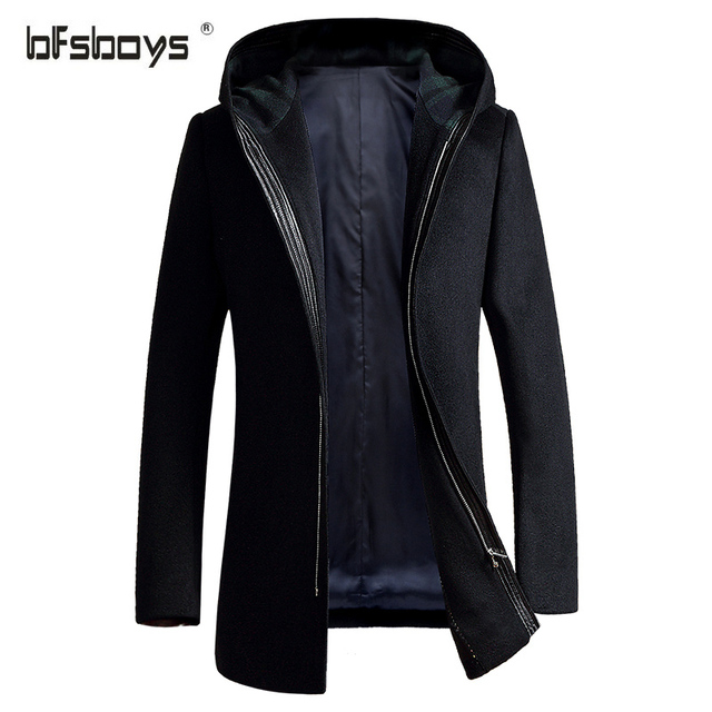 2016 Hot Sale winter Cultivate one's morality men's  zipper long hooded High Quality Woolen coat navy blue  1728