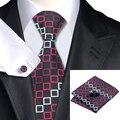 Seda Jacquard Lazo Para Hombre Rojo Negro Plaid Corbata Hanky Gemelos Set Corbatas De Seda Lazos de La Boda Para Los Hombres de Negocios Al Por Mayor C-1104