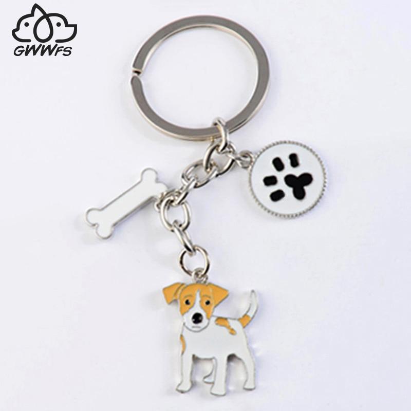 Jack Russell Terrier Gantungan kunci Untuk Wanita Pria Gadis Warna Silver Alloy Logam Dog Pendant Gantungan kunci Mobil Keychain ...