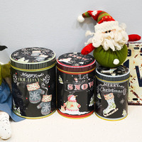 3PC Christmas Candy Cookies Box Iron Storage Tank Jar Round Sealed Cans Coffee Tea Tin Container