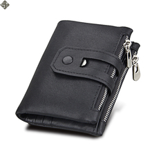 New Design Brand Men Wallets 100% Genuine Leather Purse with Credit Card Holder Male Wallet Zipper Coin Pocket Photo Holder
