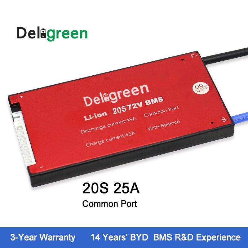 Deligreen 20 s 25A 72 v PCM/PCB/BMS para batería de litio 18650 li-po LiNCM batería
