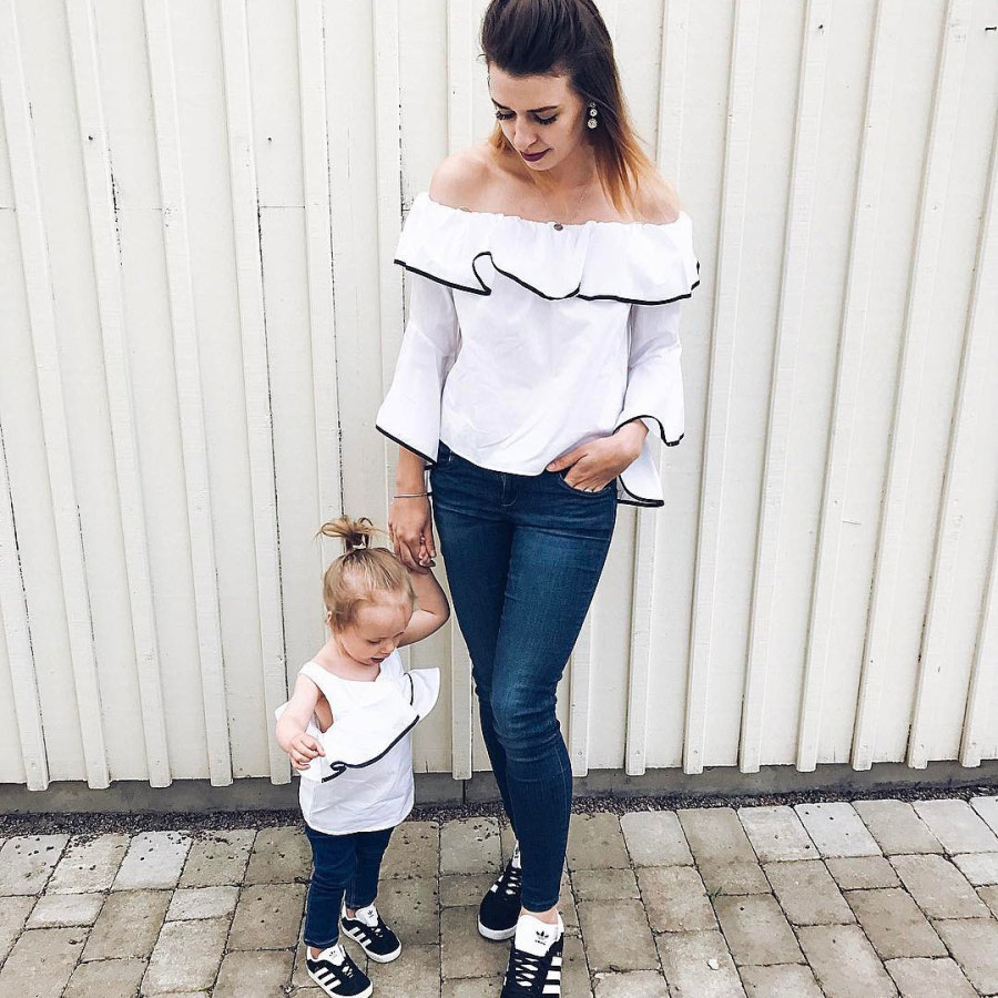 Famliy Clothing Matching Mother and Daughter Cotton Ruffles T-shirts 2018 Kids Summer Clothing Baby Girl Casual Jumper tops