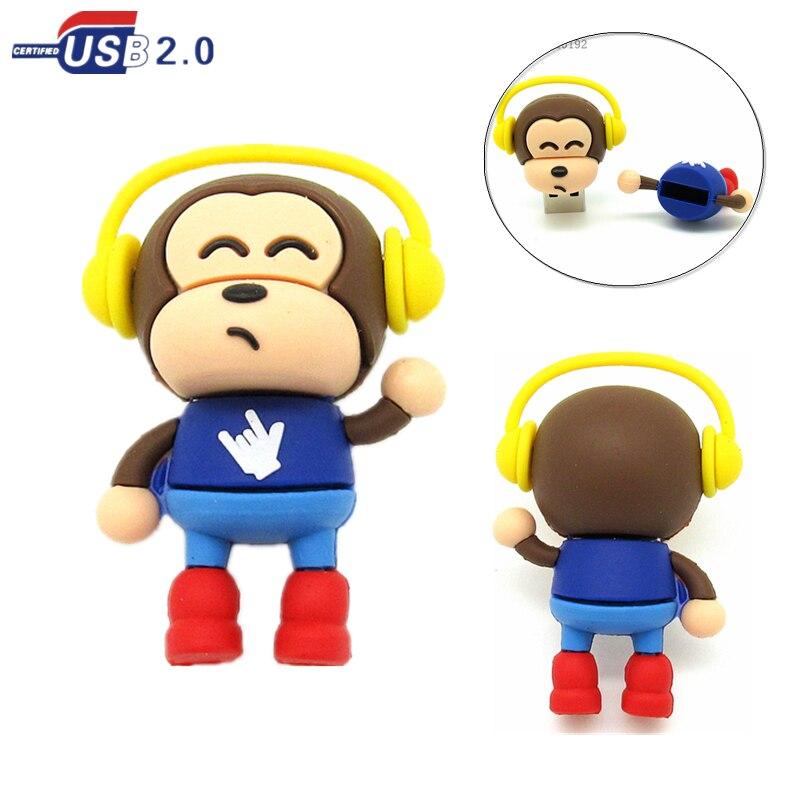 New Design Cartoon Headset Monkey USB Flash Drive 4GB 8GB 16GB 32GB Cute Musical Animal Pen Drive Memory Stick