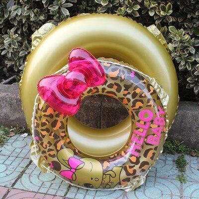 Дети Leopard Дженнер бантом ins надувной плот Одежда заплыва Плавание кольцо игры float игрушки для купания летние водонепроницаемые бассейн труб...