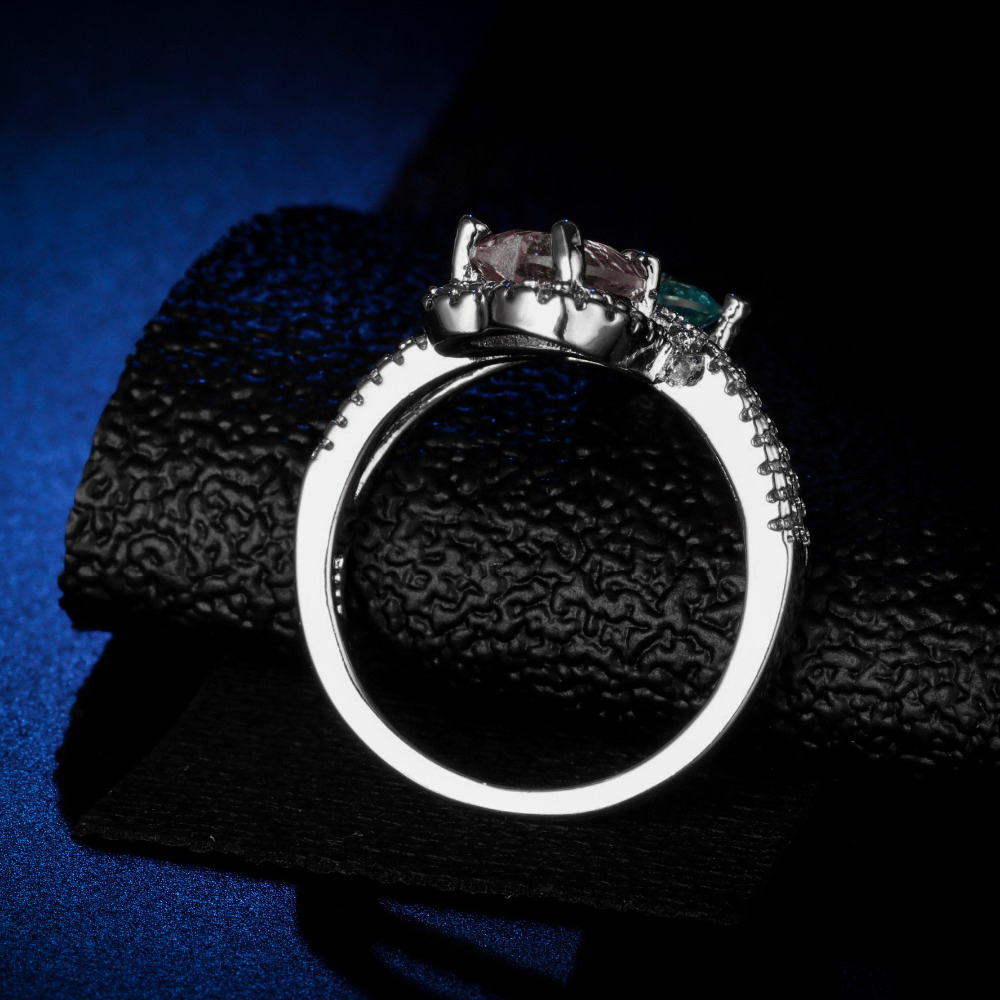 Original Design Handmade cz unique style topaz sapphire pink crystal Ring Cubic Zirconia Hot Ins sterling silver 925 in Rings from Jewelry Accessories