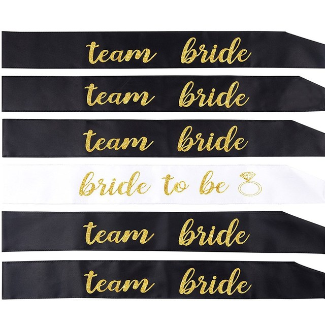 6pcs Satin Bride To Be Team Bride Sash Hen Night Girls for Wedding Bridal Shower Decorations Ring Bachelorette Party Supplies
