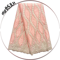 Nigerian French Tulle Lace Fabric High Quality Stones Latest African Laces 2018 Fushia Pink Peach Guipure Africa Lace Fabric