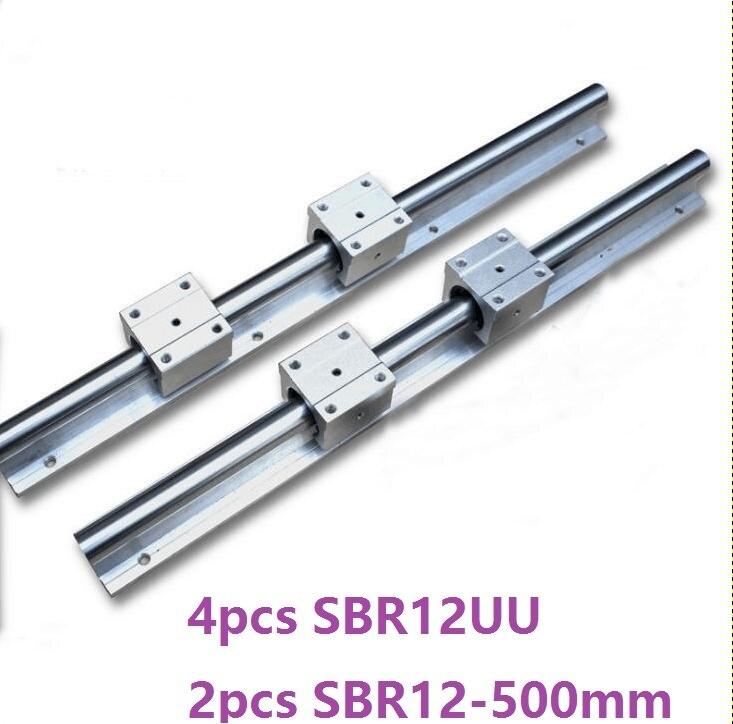 2pcs SBR12 -L 500mm support rail linear rail guide + 4pcs SBR12UU linear bearing blocks for CNC router parts 2pcs sbr12 l 1000mm support rail linear rail guide 4pcs sbr12uu linear bearing blocks cnc router parts