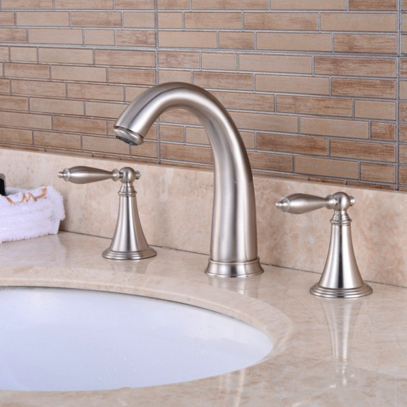 Deck Mounted 3 Holes Bath Tub Mixer Tap Brushed Nickel Widespread Dual Levers Handles bathroom basin Faucet anf039Deck Mounted 3 Holes Bath Tub Mixer Tap Brushed Nickel Widespread Dual Levers Handles bathroom basin Faucet anf039