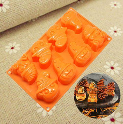 Halloween décorations pour gâteaux kit 8 trous citrouille Fantôme chat zombie squelette gâteau silicone moule à gâteau en silicone pop moule livraison gratuite