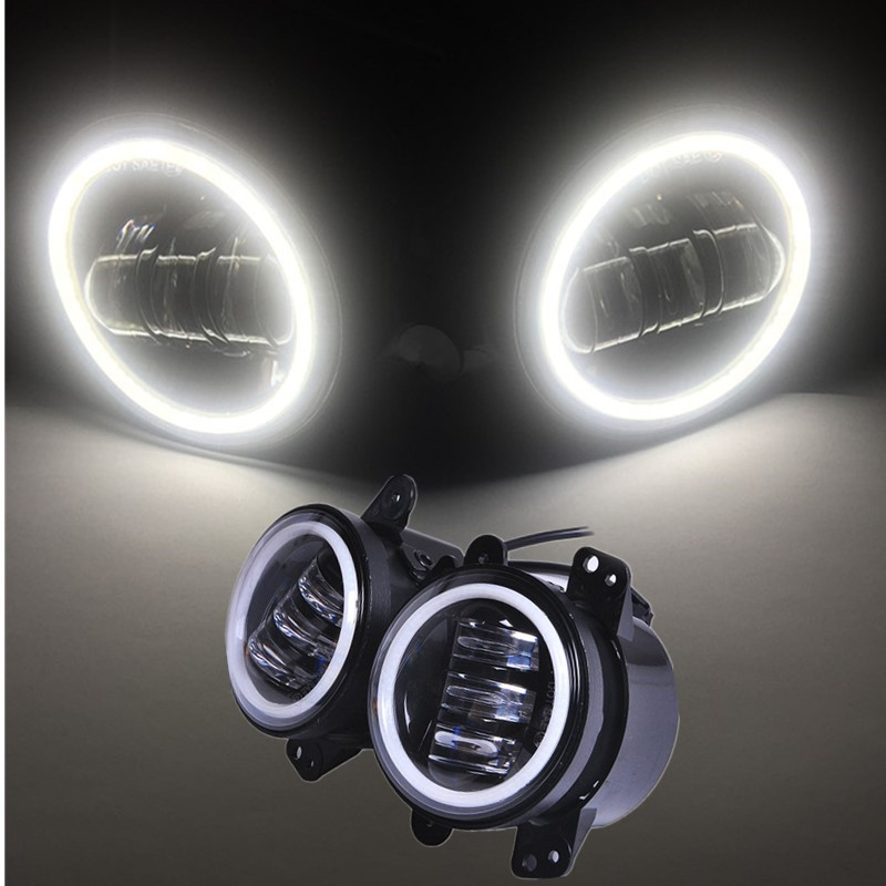 4 Inch Round Led Fog Light Headlight 30W Projector lens With Halo DRL Lamp For Offroad Jeep Wrangler Jk Dodge DOT E9 Approved 2pcs led round 4 inch fog lights 30w 4 fog lamp lens projector led driving headlamp for offroad jeep wrangler dodge chrysler