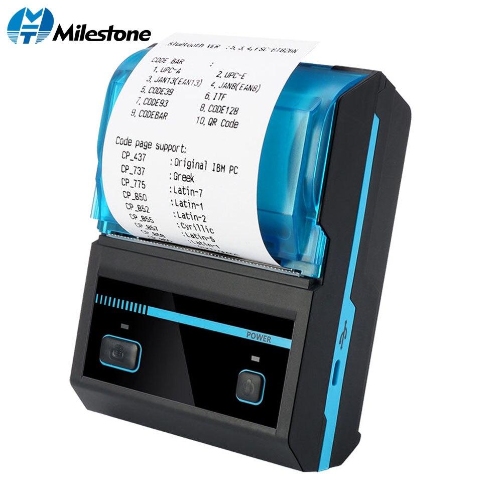 Kamień milowy termiczna drukarka paragonów 58mm Mini bezprzewodowa drukarka Bluetooth przenośna drukarka MHT-P5801 Android IOS POS oświetlenie komputera