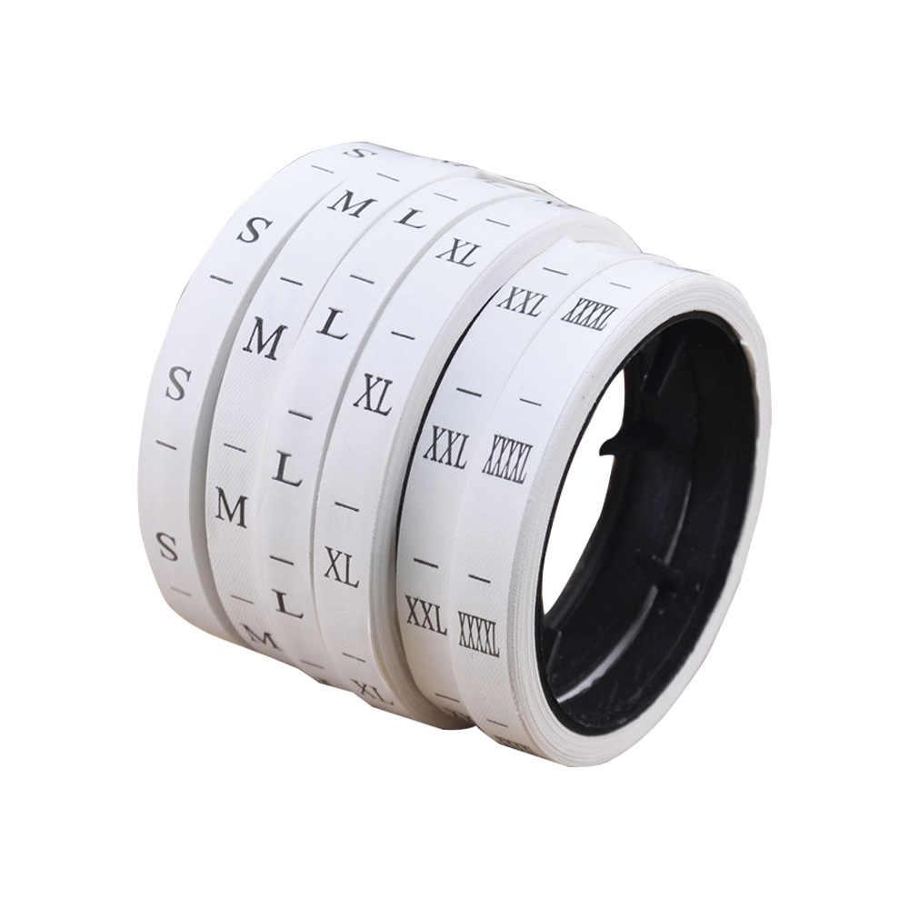 Lager gerollt weiß Synthetische band größe etiketten für kleidung größe nähen label für kleidung monat tags XS S 6 7 8 9 größe alter tag