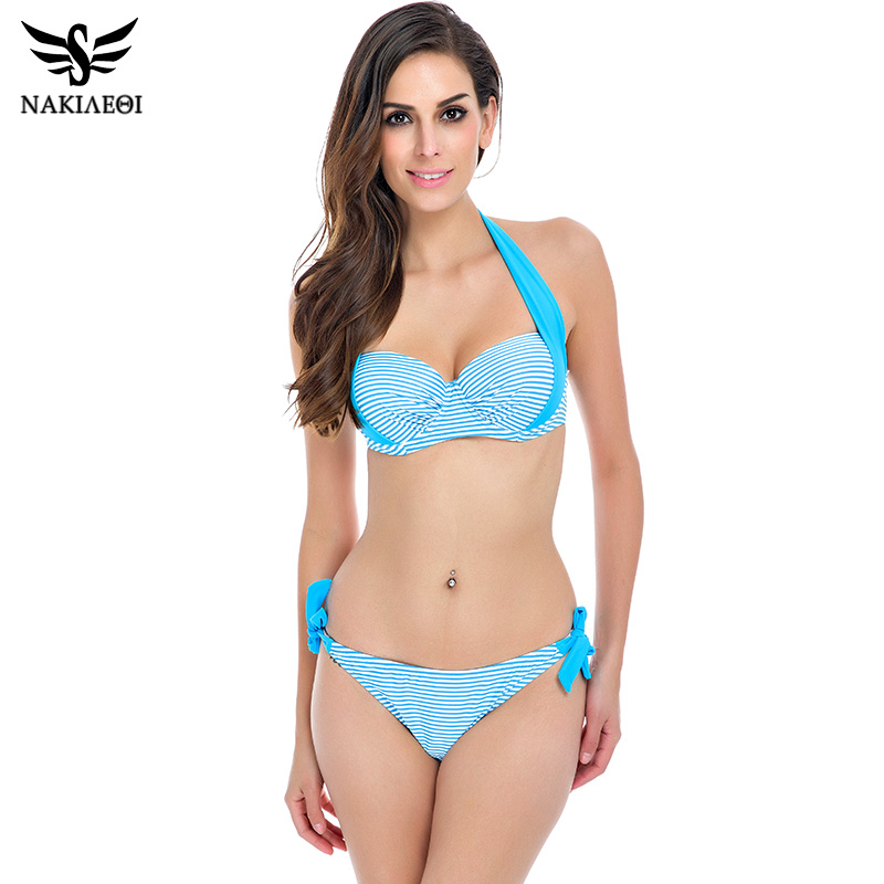 NAKIAEOI 2018 New Sexy Bikinis Women Swimsuit Push Up Bikini Set Bathing Suits Halter Summer Beach Wear Plus Size Swimwear XXL 2