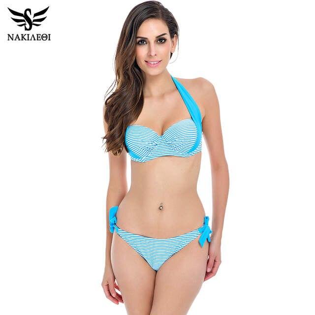 5d4ef2261f placeholder NAKIAEOI 2018 New Sexy Bikinis Women Swimsuit Push Up Bikini  Set Bathing Suits Halter Summer Beach