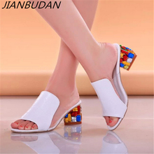Rhinestone Heel Shoes Peep Toe Womens slippers Sexy Open Toe Shoes Wedge Non slip Womens  High Heel slippers Flip Flop Plus 41