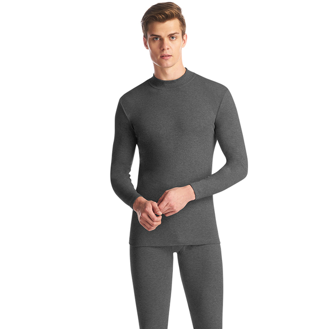 THREEGUN Underwear Winter Mens Warm Thermal Set Male Winter Bottoms Half High Collar Undershirts Thin Invisible Roupa Termica