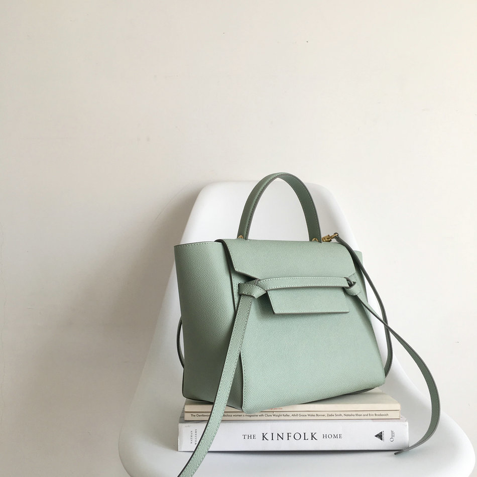 [Hely Coptar] Genuine Leather Women Bags Trapeze Crossbody Cowhide Female Bag Causal bags Epsom Mint Green Luxury Designer Good mint green casual sleeveless hooded top