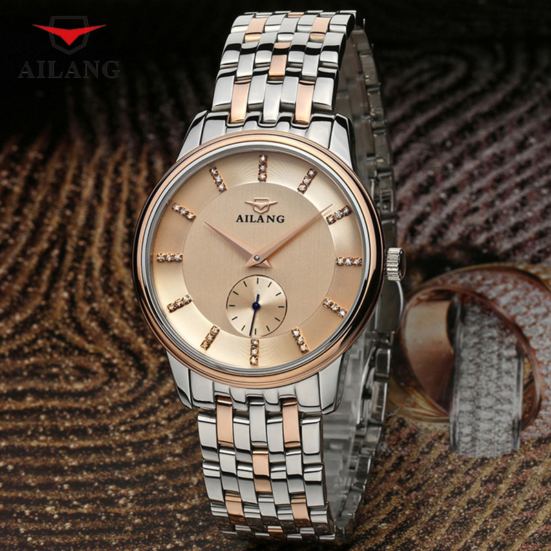 AILANG Brand Genuine Leather Wristwatches Stainless Steel Rhinestone Casual Men Shock Resistant Waterproof Fashion Simple A048