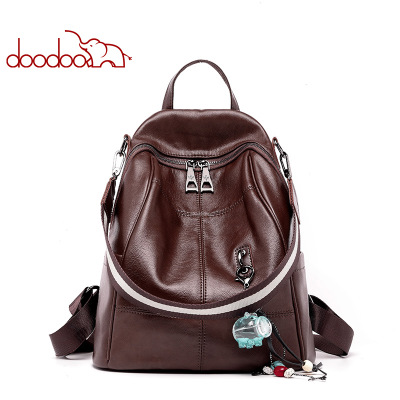 DOODOO Fashion Women Leather Backpack Casual Travel Bag Preppy Style Girls Schoolbag Notebook Laptop Knapsack