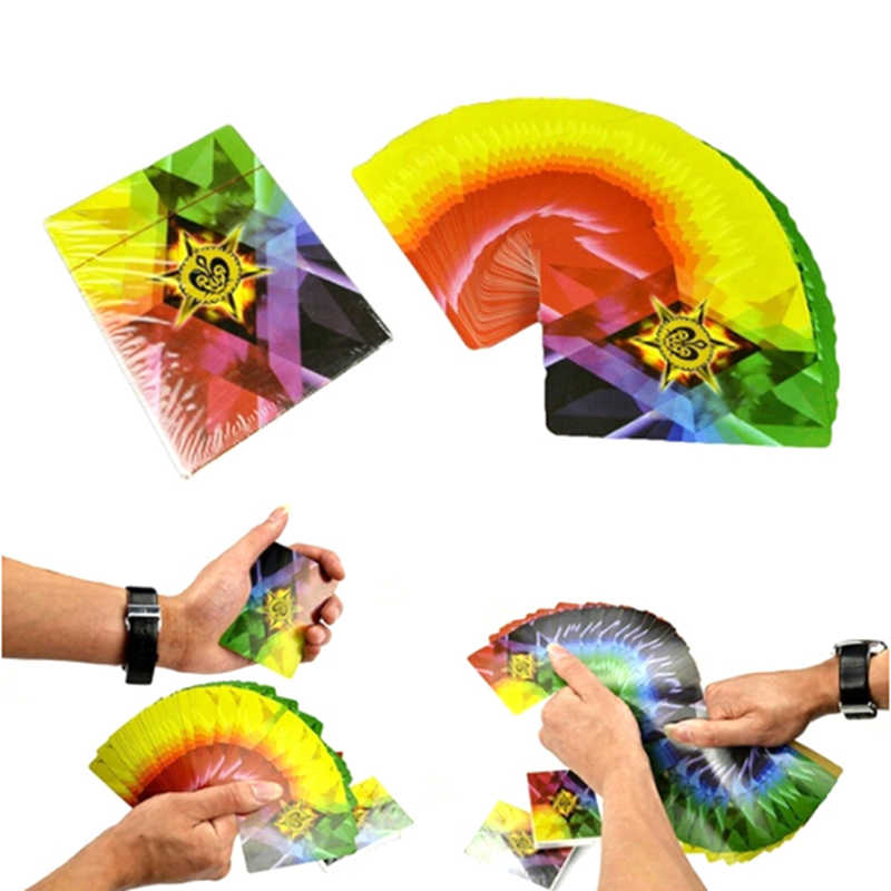 Rainbow Poker Magic Poker Thin Cards Of Fanning and Manipulation 4 Way Changing Color Stage Magic Tricks Magic Props