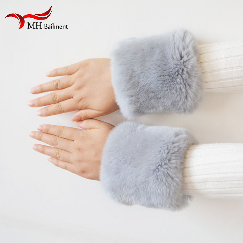 Warm Winter Over Sleeve Arm New Women Cuff Wristband Soft Warm Winter Oversleeve Arm Warmer Women Natural Rabbit Fur