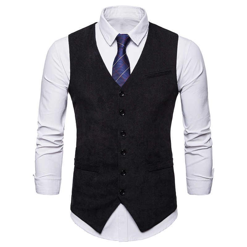 Vintage Haki Yelek Erkekler Kadife Erkek Yelek 2018 Casual Slim Fit takım kıyafet Yelekler Erkekler Için Moda Chalecos Para Hombre Siyah