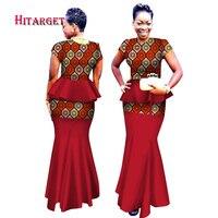 2018 Hitarget African Women 2 Piece Set Dashiki Cotton Print Wax Crop Top African Traditional Woman Clothing WY2534