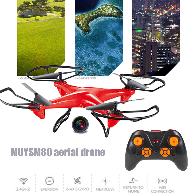 2.4GHz WIFI 0.3MP Camera 4 Channel 6-Axis Gyro UAV Quadcopter Flying Speed Adjustable One Key Landing LED lighting Drone Aircraf
