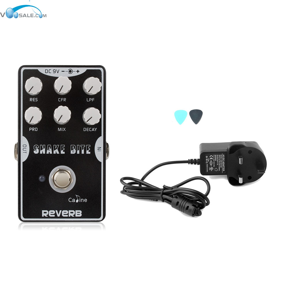 Caline CP-26 Reverb Guitar Stompbox BlacK with True Bypass Design Pedal+AC100V-240V to DC9V/1A Adapter Use Have AU UK US EU Plug caline cp 29 guitar effect pedal mixing boost white heat true bypass design