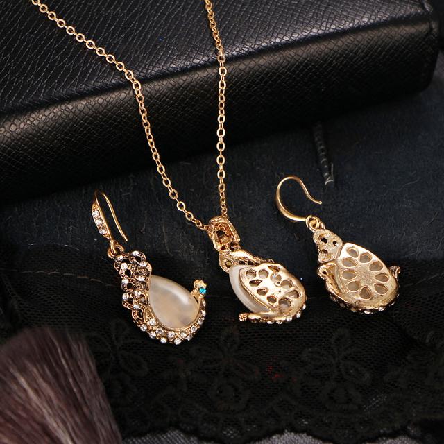 17KM Pendientes Austrian Crystal Circle Opal Peacock Jewelry Sets Peacocks Necklace Drop Earrings Set For Women Gift joyeria