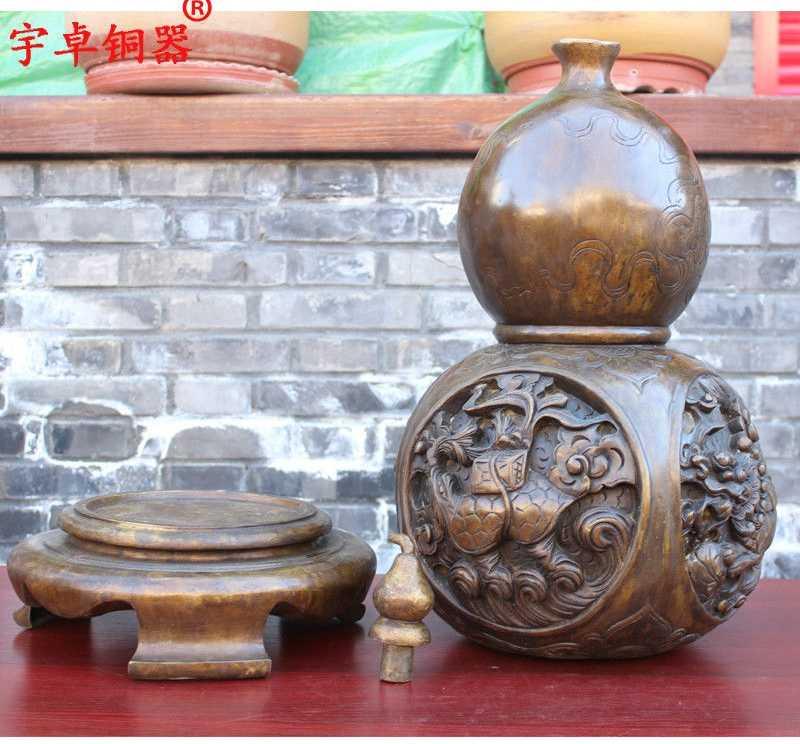28 ''China Esorcizzare Gli Spiriti Maligni Fengshui del Drago Zucca Calabash Statua di Bronzo