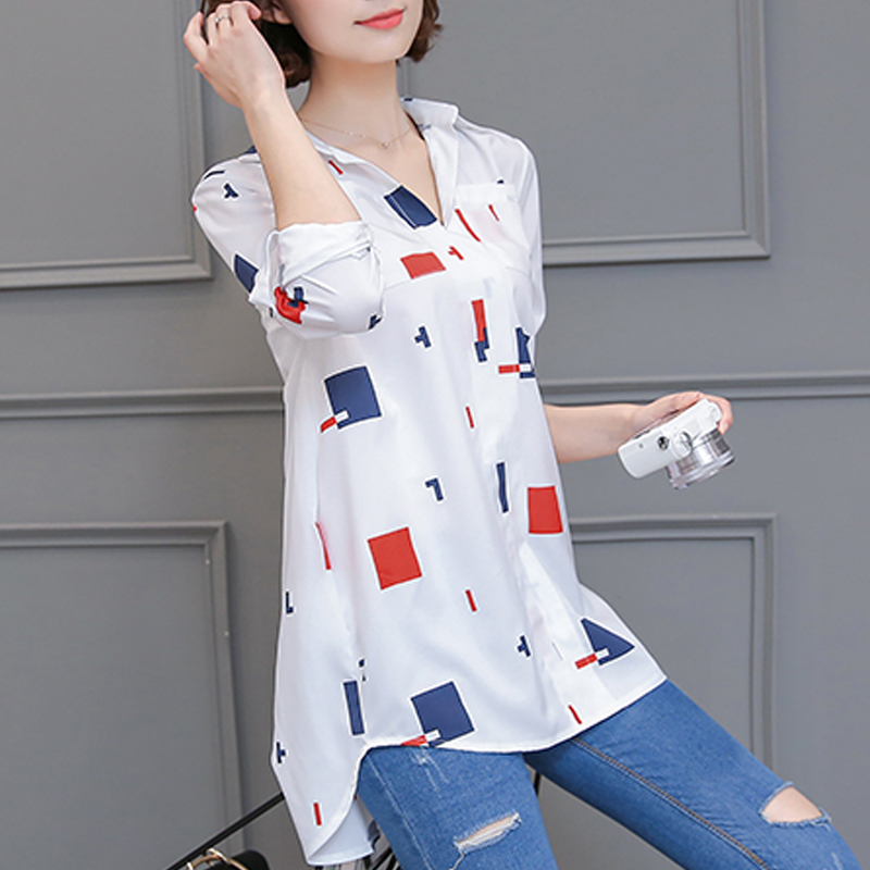 2019 Summer Long Chiffon Floral Printed   Blouse     Shirt   Women Tops Elegant Plus Size 4XL Loose Ladies   Blouses   Blusas Female 0.17KG