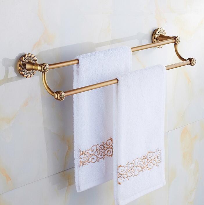 ФОТО Bathroom accessories Antique brass 60cm Double towel bars bathroom towel rack wall mounted antique bathroom towel bars