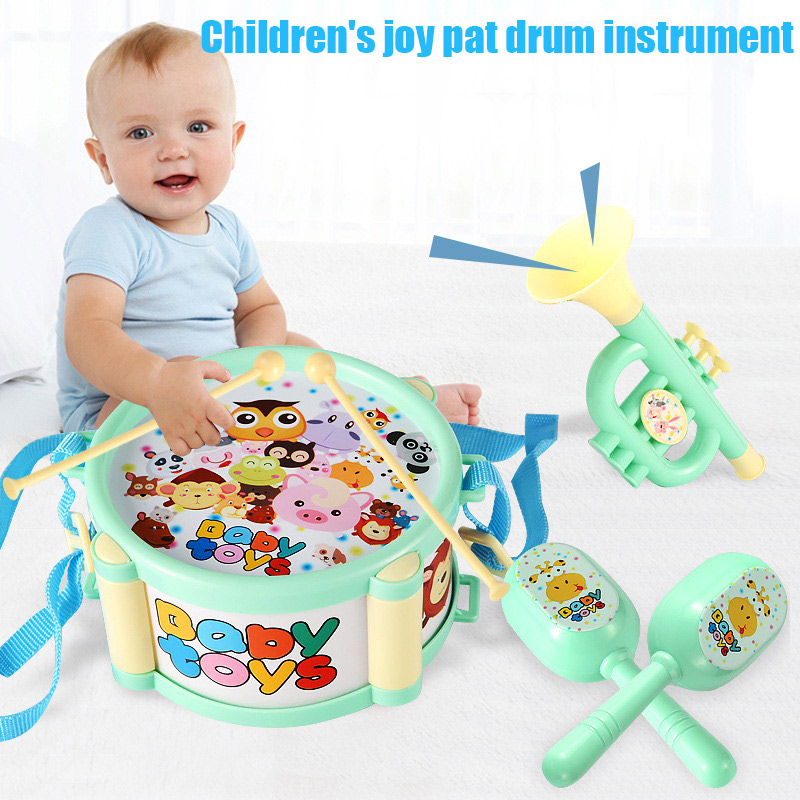 4pcs Children Toy Instruments Kit Drum Small Sand Hammer Horn Kits Early Educational Baby Toys Gift S7JN