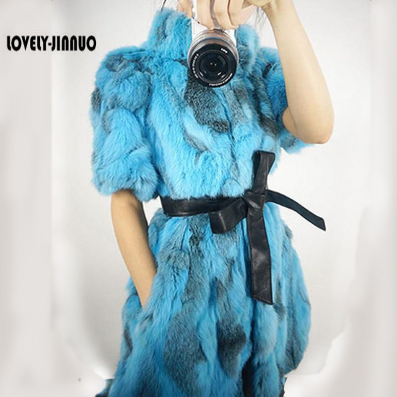Women Real Rabbit Fur Coat Genuine Natural Rabbit Real Fur Vest Winter Fur Coat Plus size with belt JN177