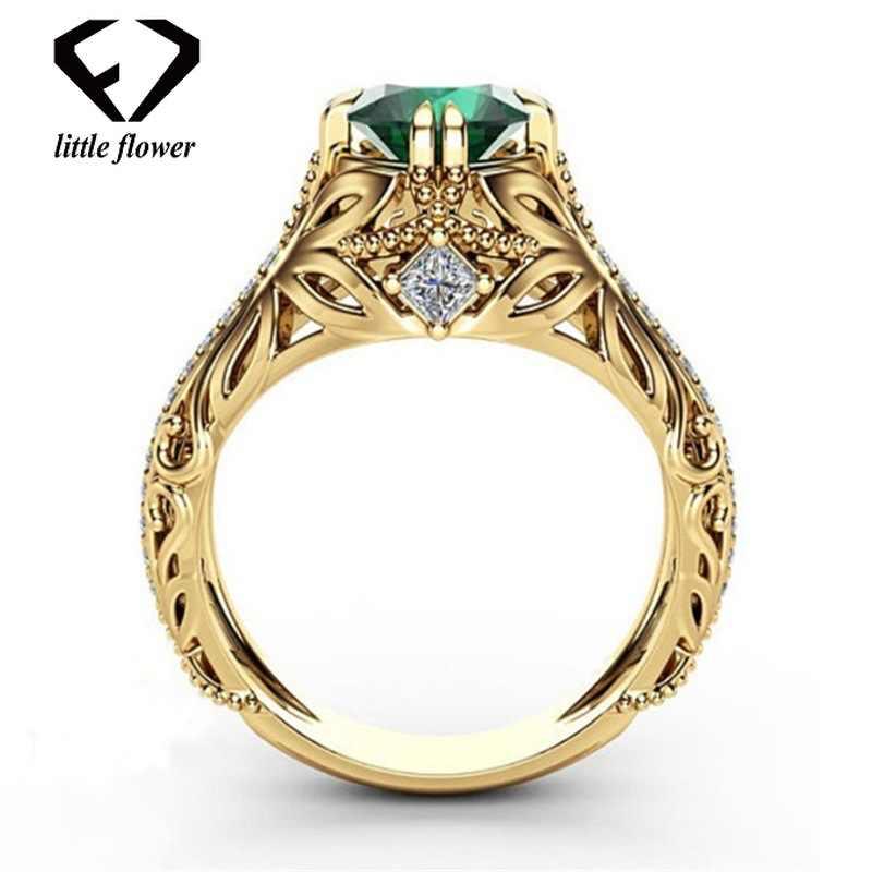 14K Gold Diamond Emerald เครื่องประดับเครื่องประดับ Etoile Anillos เพชร Bizuteria สำหรับผู้หญิงหยกมรกต 14K พลอยแหวน