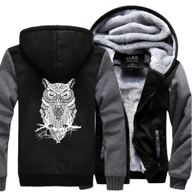 Animal Owl Funny Jackets New Style Winter Warm Fleece Sweatshirt Men  1