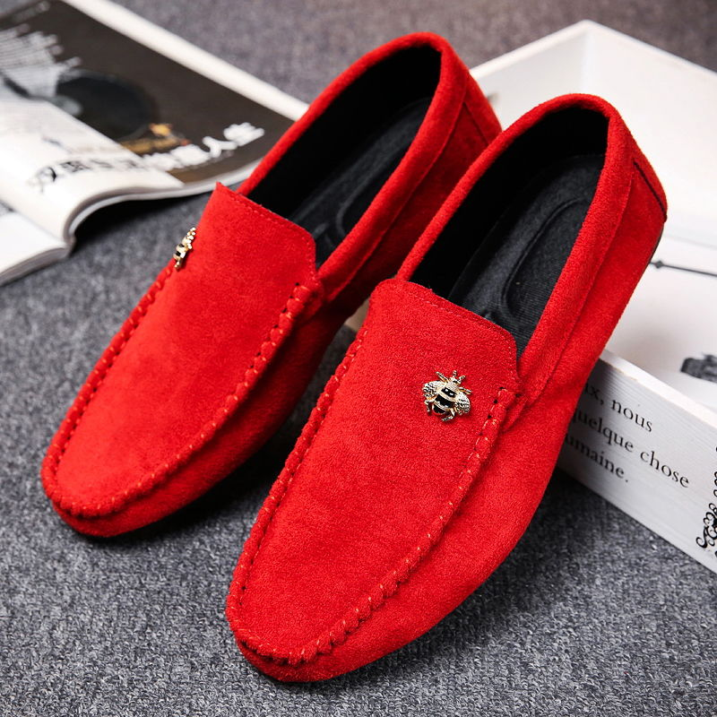 Juyouki Natural Cow Suede Bees Men's Casual Shoes Alligator Style Men Loafers Slip on Lazy Shoes Wiht Male Outdoor Shoes 2