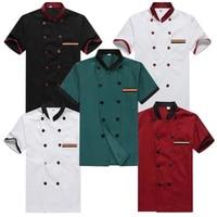 Men Short Sleeved Chef Service Hotel Working Wear Restaurant Kitchen Work Tooling Waiter Uniform Cooking Clothes