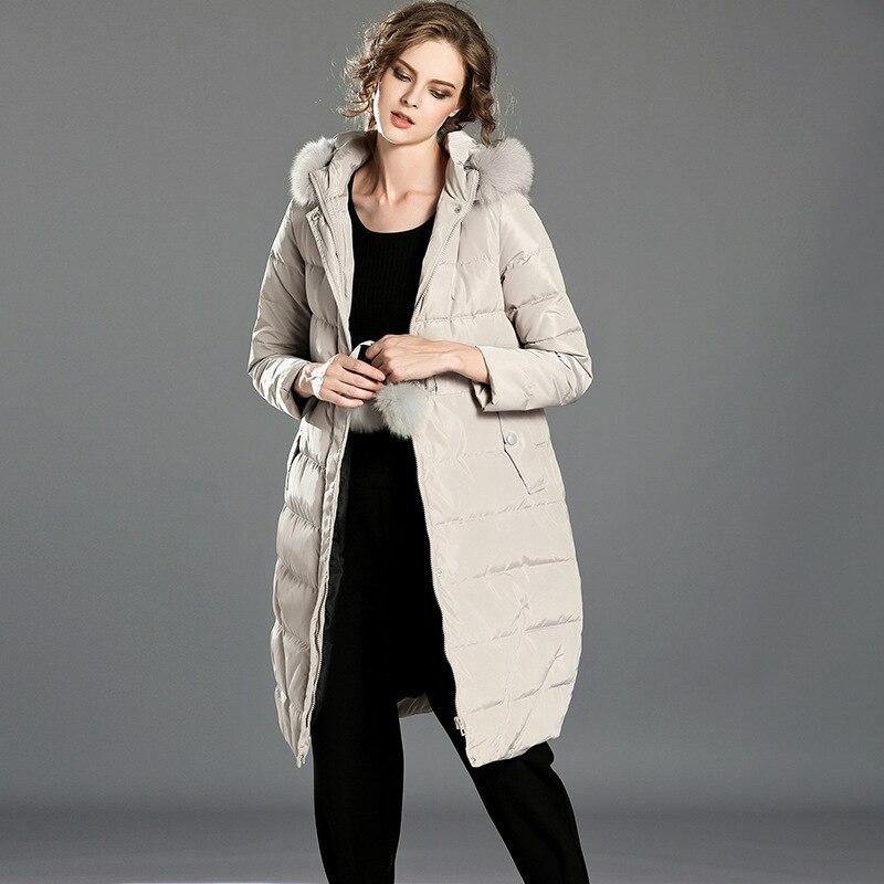 Duck Down Coat 2016 Winter Women's Clothing Fashion Solid Slim Zipper Big Fur Hooded Collar Long Down Jacket Female