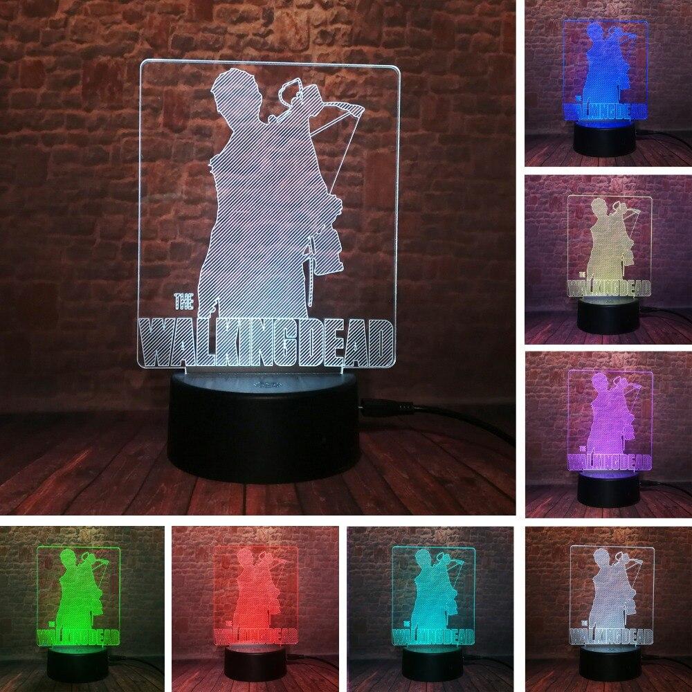 Figura de acción del Drama de TV estadounidense The Walking Dead Rick Daryl Dixon Cool luz de noche LED 3D 7 lámpara de cambio de color niños hombres Fans regalos de navidad Novedad hongo luz nocturna UE y EE. UU. Enchufe Sensor de luz 220V 3 LED lámpara de hongo colorido Led luces de noche